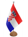Croatia Desk / Table Flag with wooden stand and base